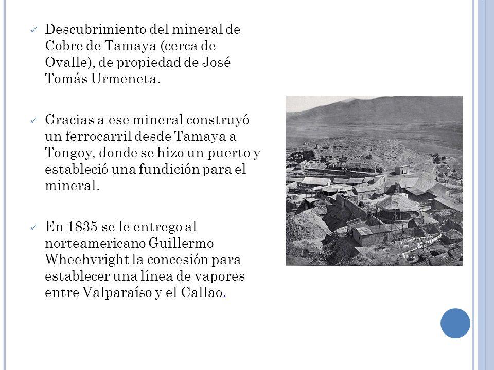 Descubrimiento del mineral de Cobre de Tamaya (cerca de Ovalle), de propiedad de José Tomás Urmeneta.