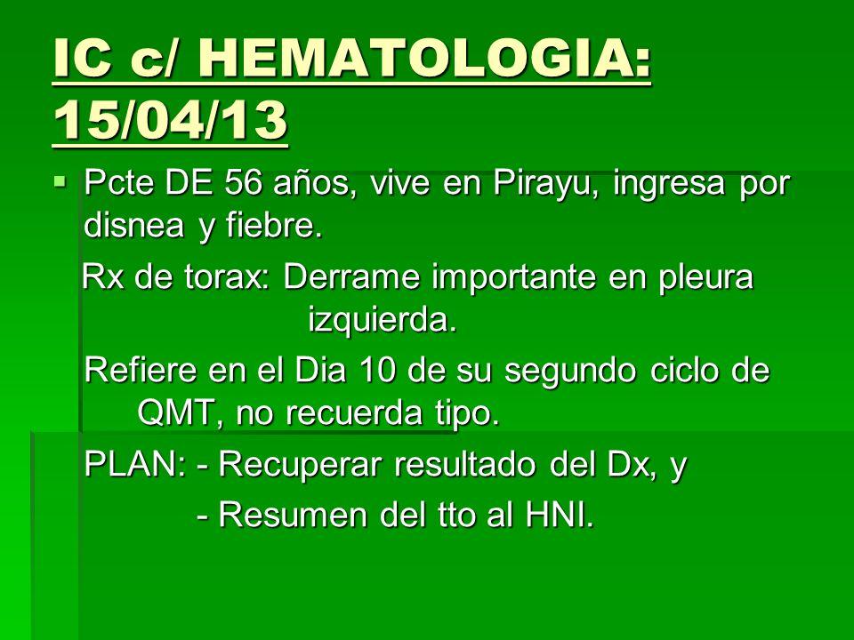 IC c/ HEMATOLOGIA: 15/04/13 Pcte DE 56 años, vive en Pirayu, ingresa por disnea y fiebre. Rx de torax: Derrame importante en pleura izquierda.