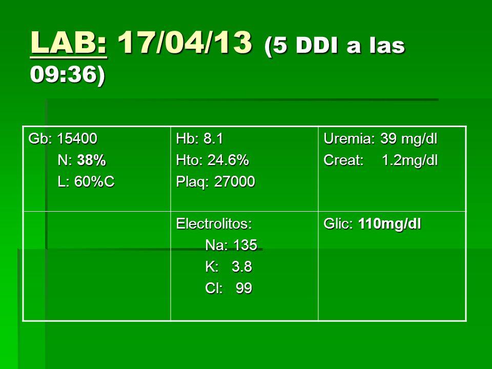 LAB: 17/04/13 (5 DDI a las 09:36) Gb: 15400 N: 38% L: 60%C Hb: 8.1