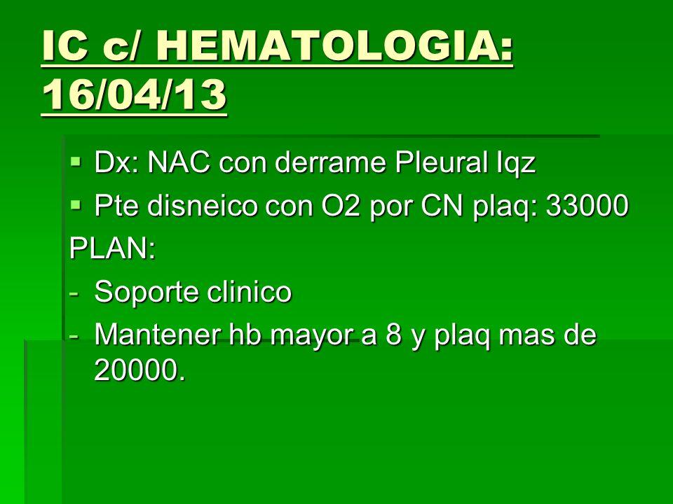 IC c/ HEMATOLOGIA: 16/04/13 Dx: NAC con derrame Pleural Iqz
