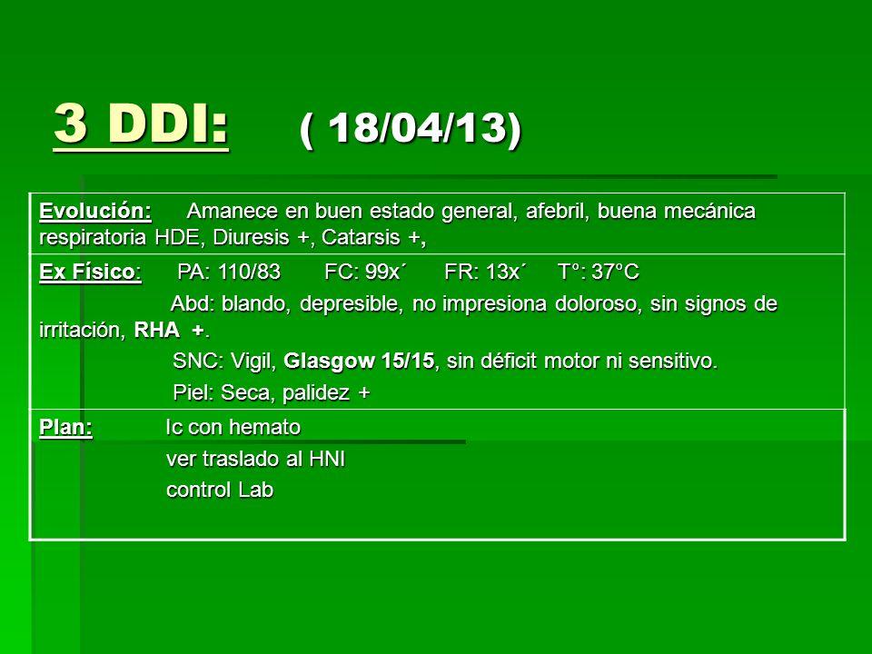 3 DDI: ( 18/04/13) Evolución: Amanece en buen estado general, afebril, buena mecánica respiratoria HDE, Diuresis +, Catarsis +,