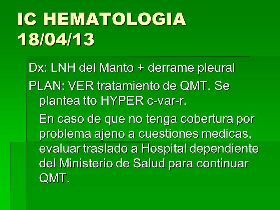 IC HEMATOLOGIA 18/04/13 Dx: LNH del Manto + derrame pleural