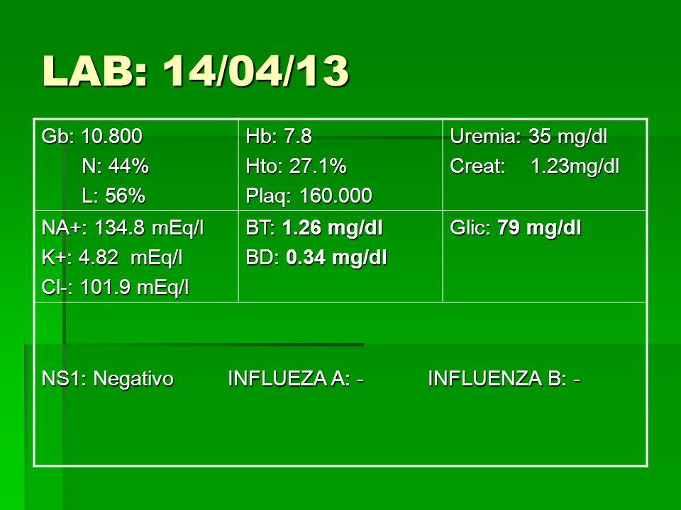 LAB: 14/04/13 Gb: 10.800 N: 44% L: 56% Hb: 7.8 Hto: 27.1%
