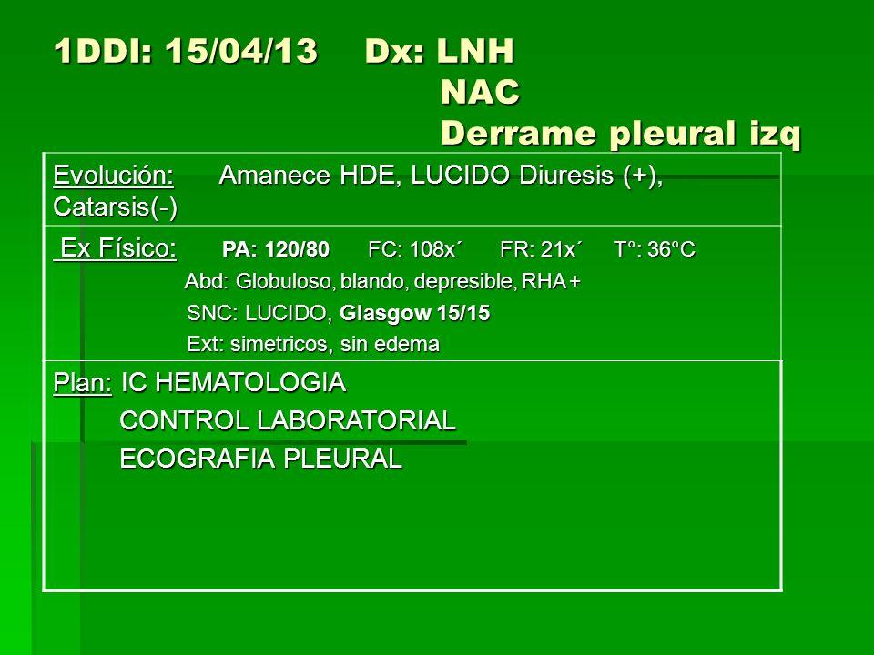 1DDI: 15/04/13 Dx: LNH NAC Derrame pleural izq