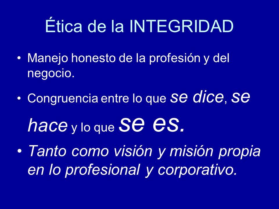 Ética de la INTEGRIDAD Manejo honesto de la profesión y del negocio. Congruencia entre lo que se dice, se hace y lo que se es.