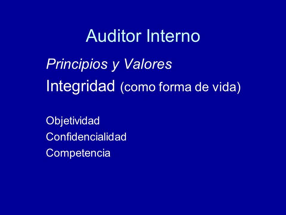 Auditor Interno Integridad (como forma de vida) Principios y Valores