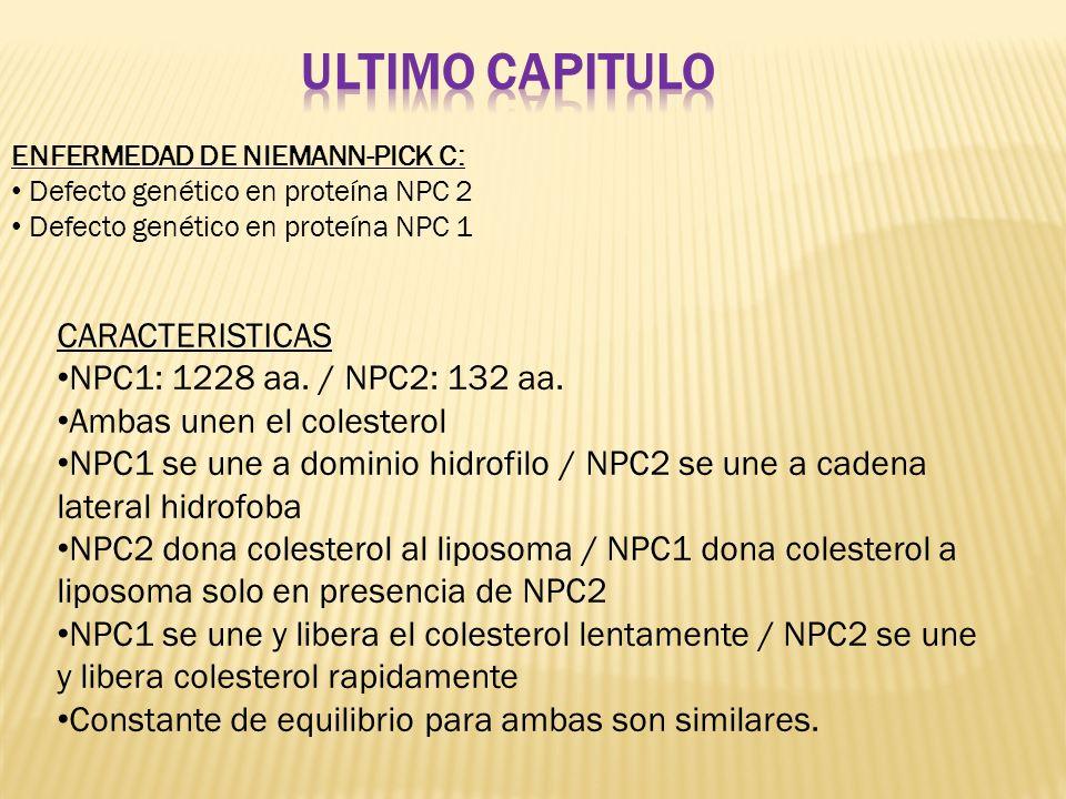 Ultimo capitulo CARACTERISTICAS NPC1: 1228 aa. / NPC2: 132 aa.