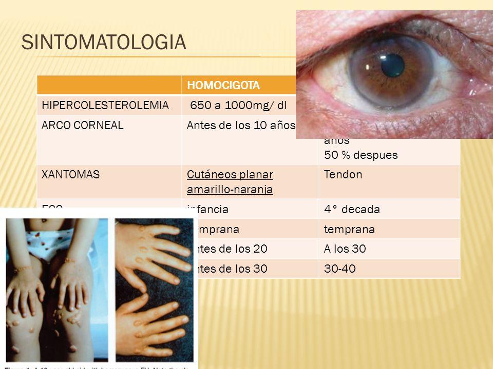 SINTOMATOLOGIA HOMOCIGOTA HETEROCIGOTA HIPERCOLESTEROLEMIA