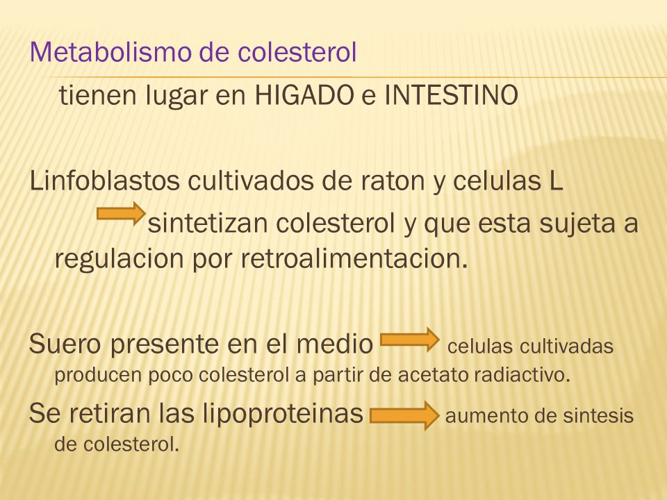 Metabolismo de colesterol tienen lugar en HIGADO e INTESTINO Linfoblastos cultivados de raton y celulas L sintetizan colesterol y que esta sujeta a regulacion por retroalimentacion.