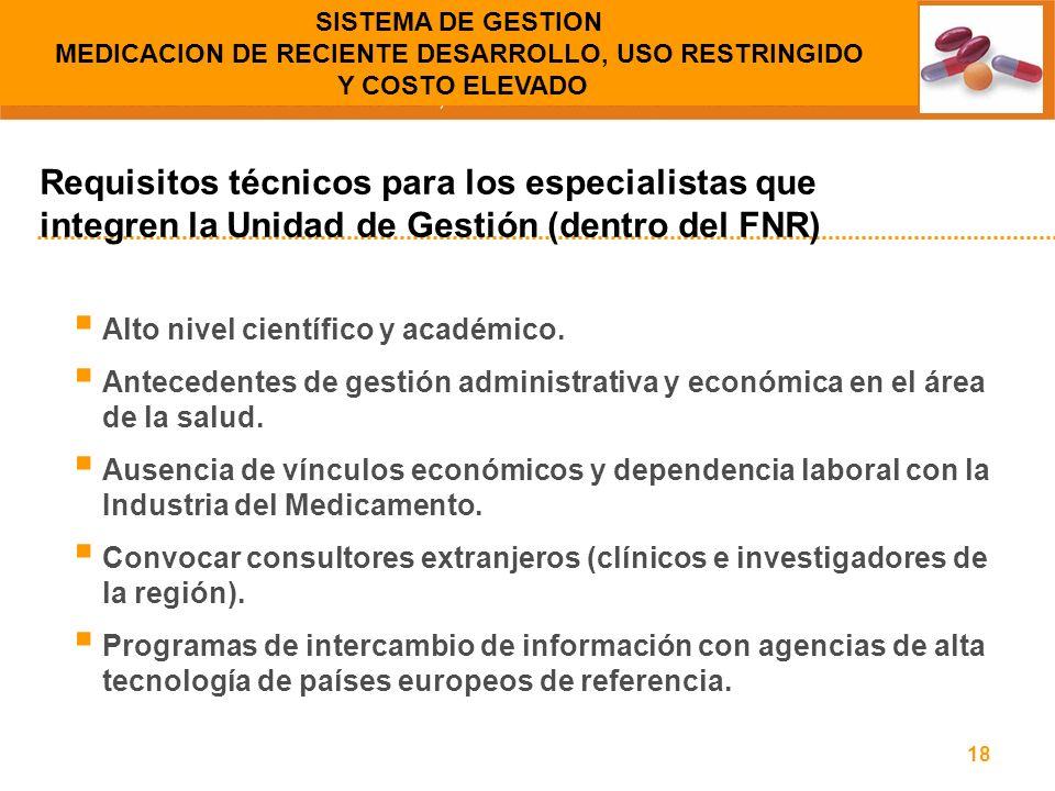 SISTEMA DE GESTION MEDICACION DE RECIENTE DESARROLLO, USO RESTRINGIDO Y COSTO ELEVADO