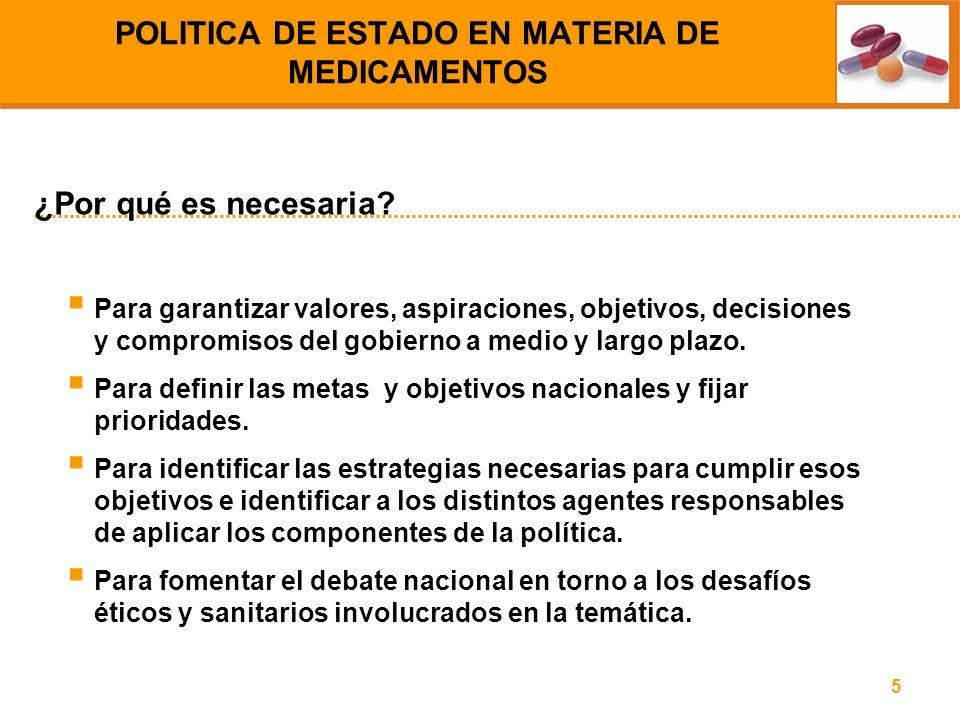 POLITICA DE ESTADO EN MATERIA DE MEDICAMENTOS