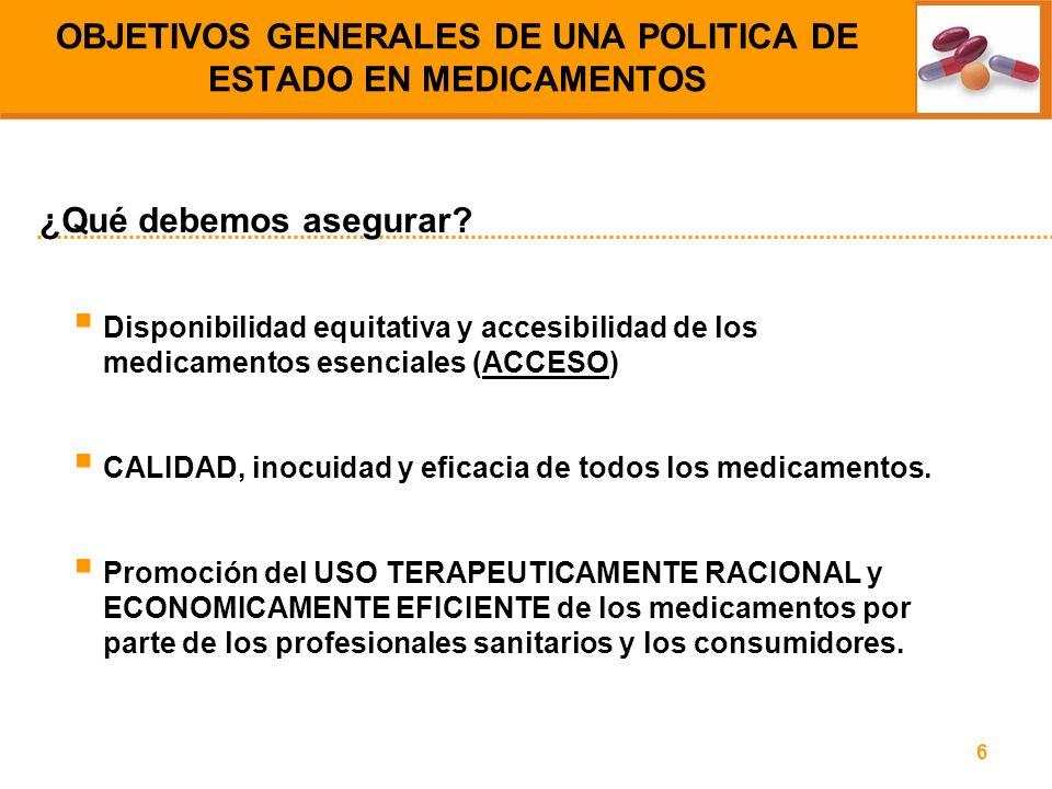 OBJETIVOS GENERALES DE UNA POLITICA DE ESTADO EN MEDICAMENTOS