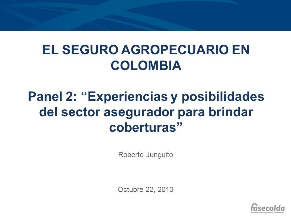 EL SEGURO AGROPECUARIO EN COLOMBIA Panel 2: Experiencias y posibilidades del sector asegurador para brindar coberturas