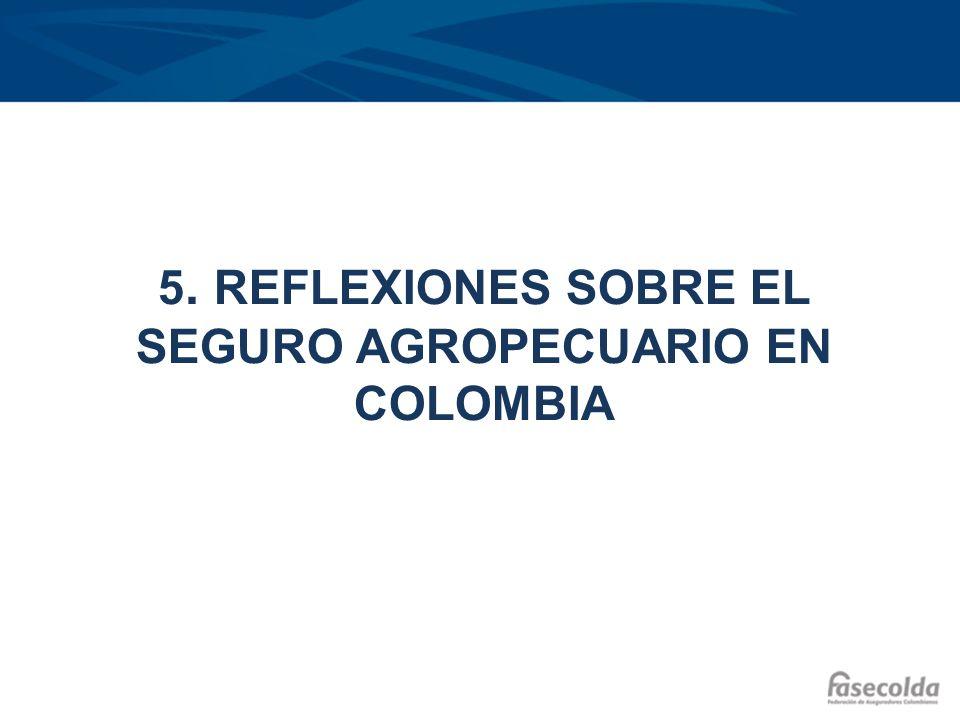 5. REFLEXIONES SOBRE EL SEGURO AGROPECUARIO EN COLOMBIA
