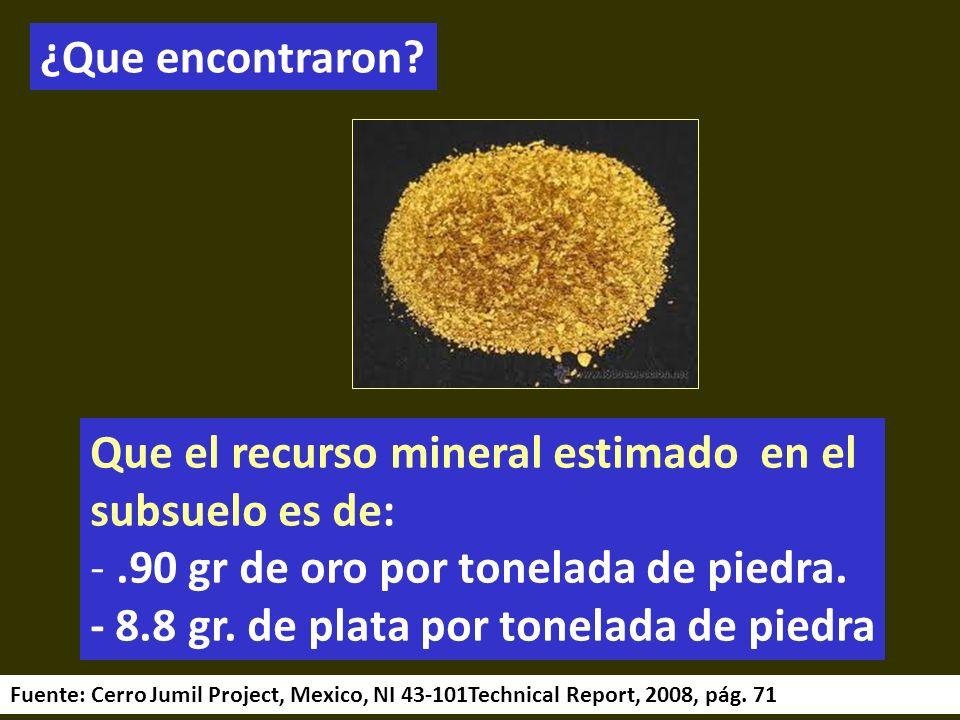. ¿Que encontraron Que el recurso mineral estimado en el