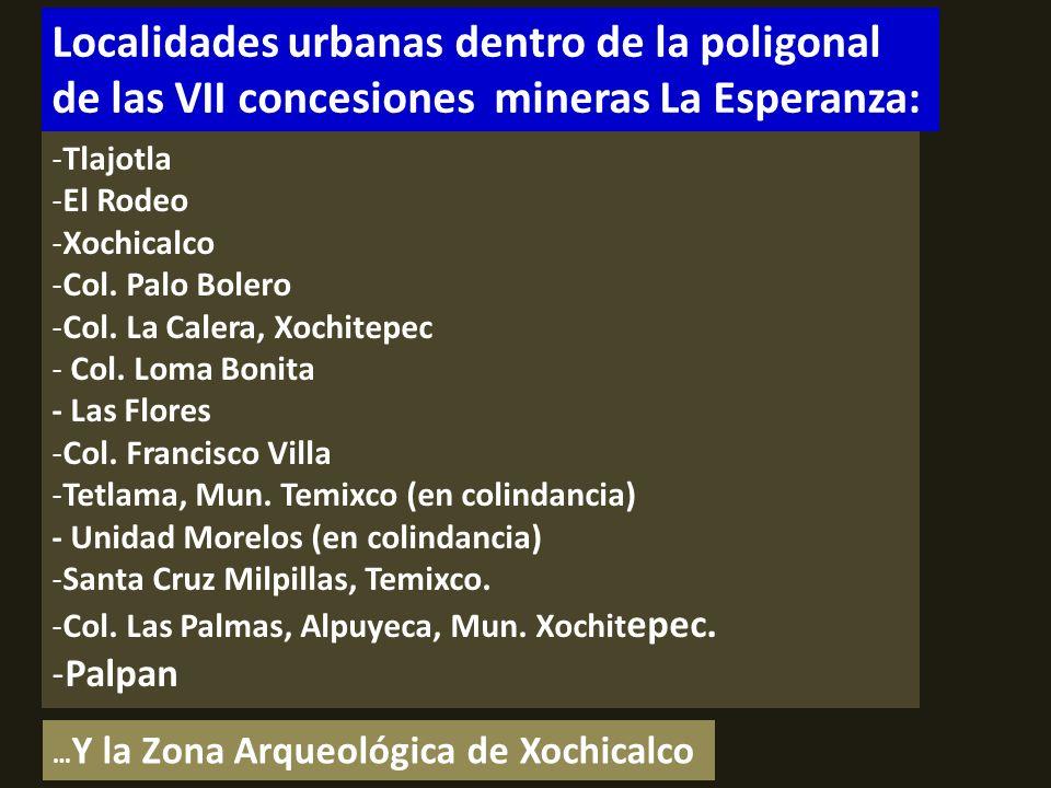 . Localidades urbanas dentro de la poligonal