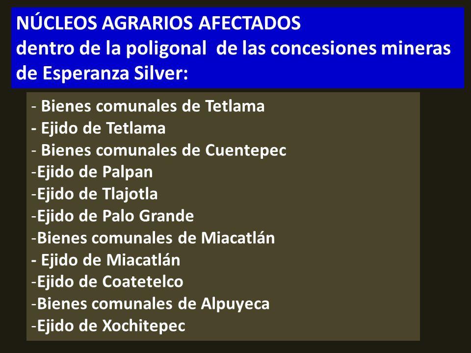 . NÚCLEOS AGRARIOS AFECTADOS