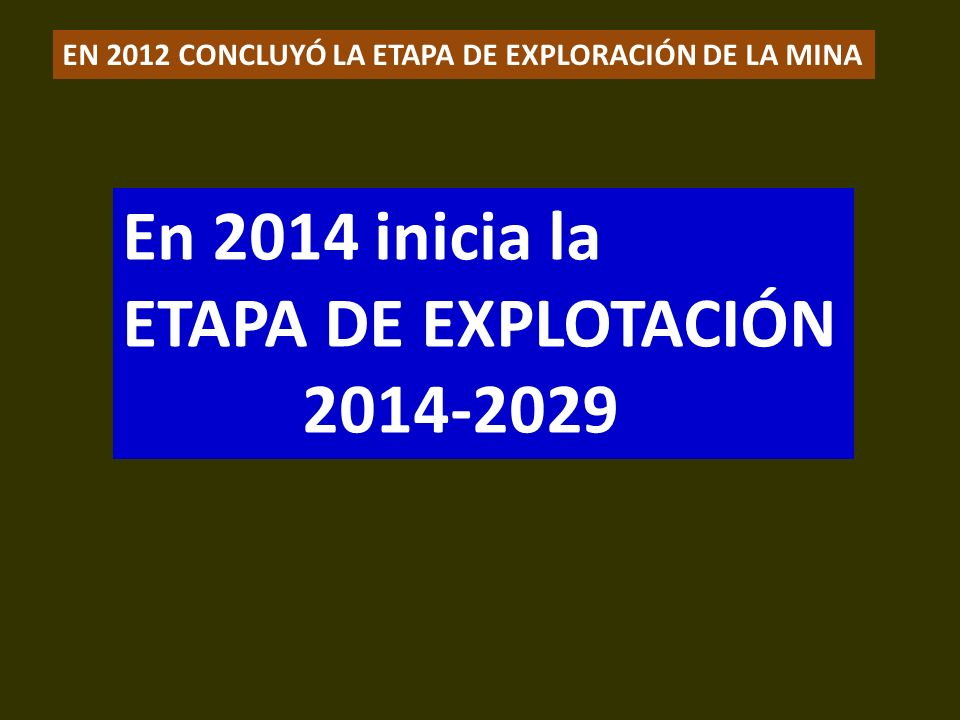En 2014 inicia la ETAPA DE EXPLOTACIÓN 2014-2029 .