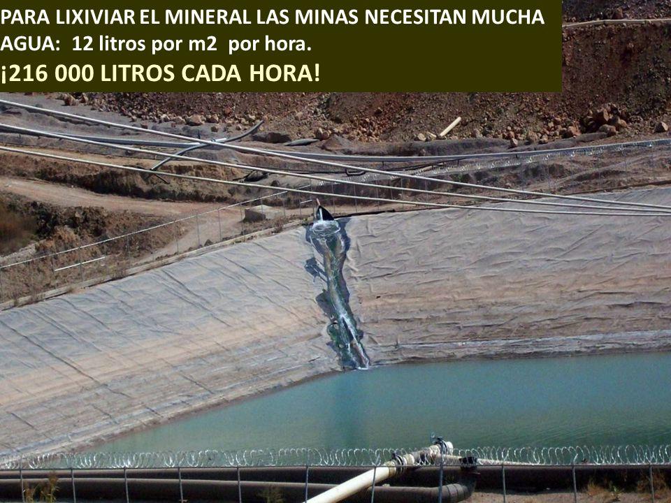 PARA LIXIVIAR EL MINERAL LAS MINAS NECESITAN MUCHA