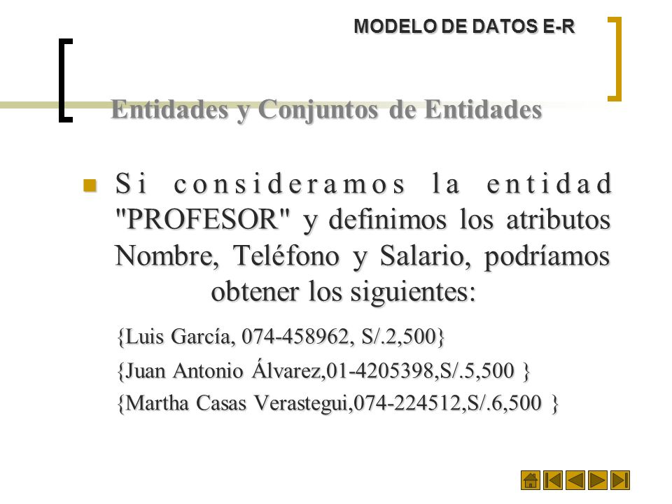 MODELO DE DATOS E-R Entidades y Conjuntos de Entidades.