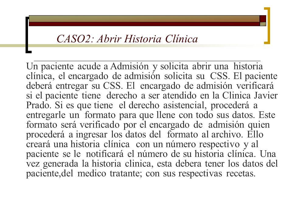 CASO2: Abrir Historia Clínica