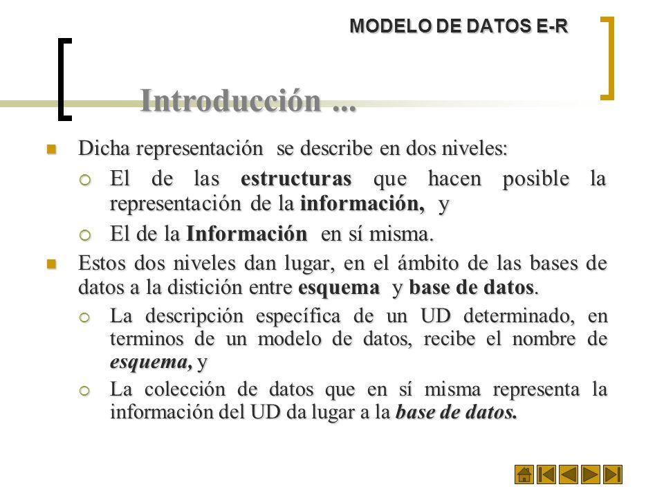 MODELO DE DATOS E-R Introducción ... Dicha representación se describe en dos niveles: