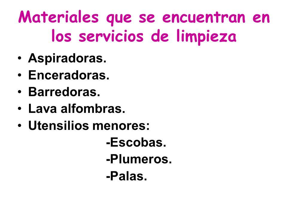 Materiales que se encuentran en los servicios de limpieza