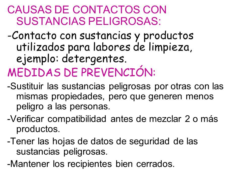 CAUSAS DE CONTACTOS CON SUSTANCIAS PELIGROSAS: