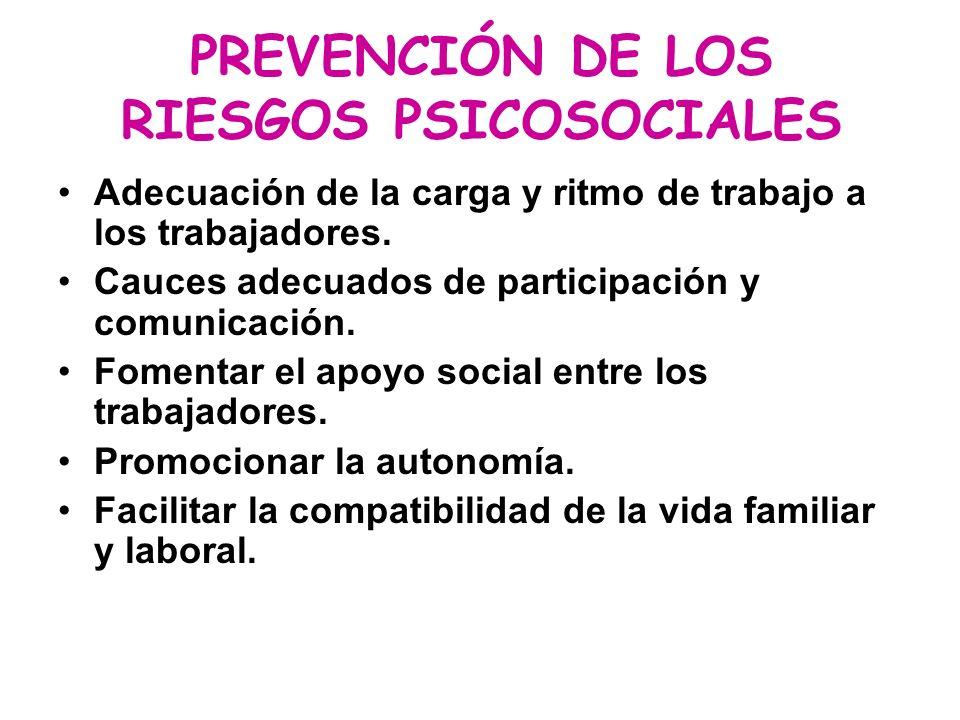 PREVENCIÓN DE LOS RIESGOS PSICOSOCIALES