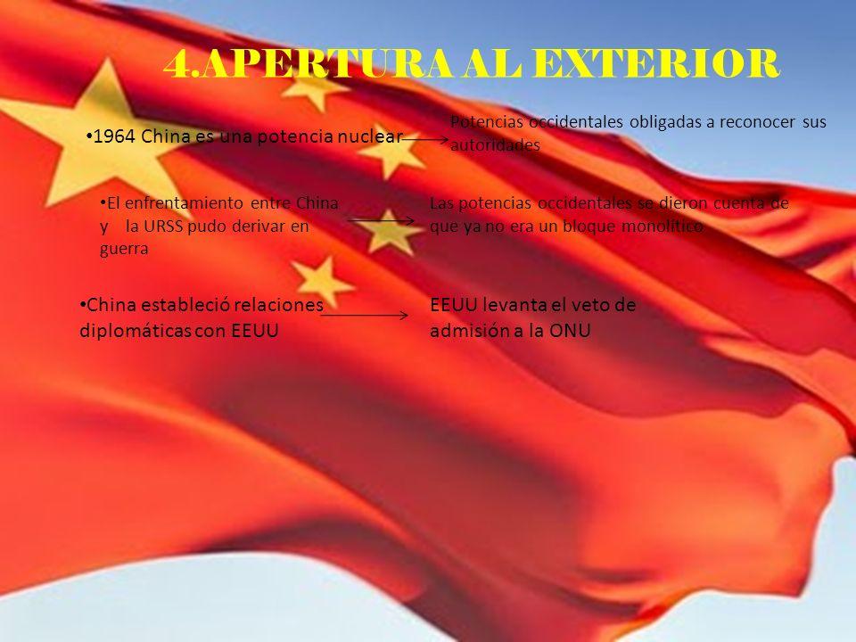 4.APERTURA AL EXTERIOR 1964 China es una potencia nuclear