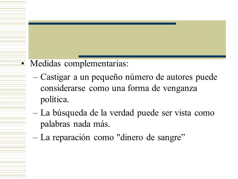 Medidas complementarias: