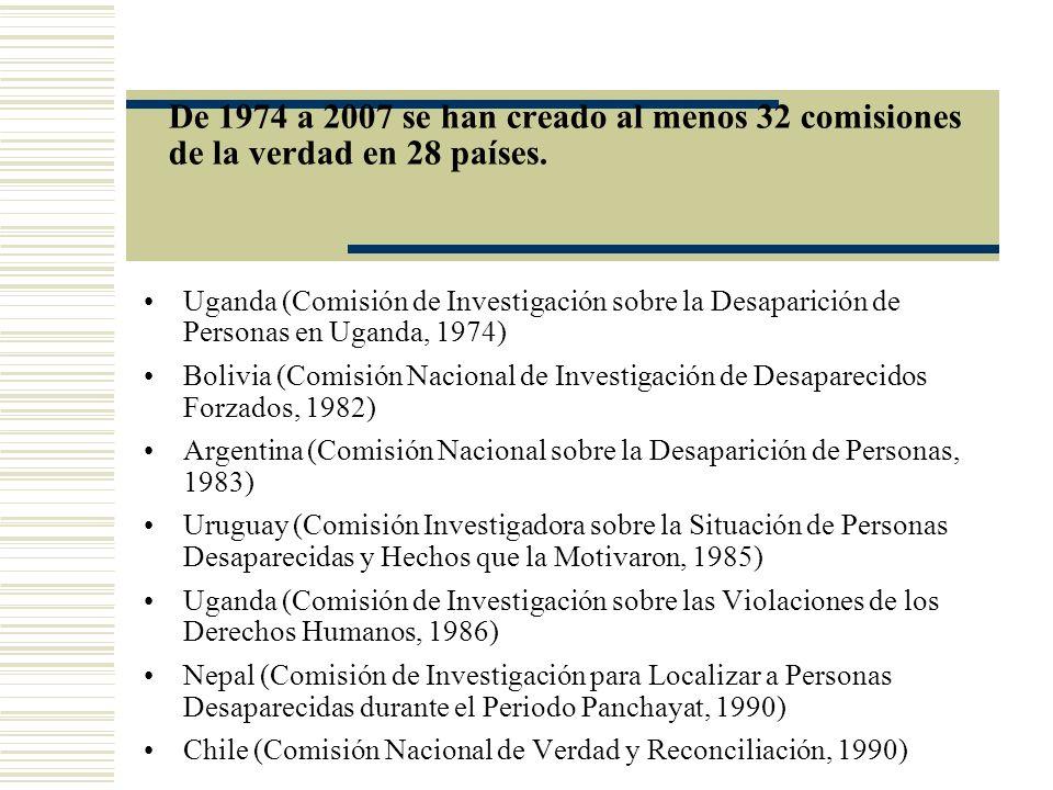 De 1974 a 2007 se han creado al menos 32 comisiones de la verdad en 28 países.