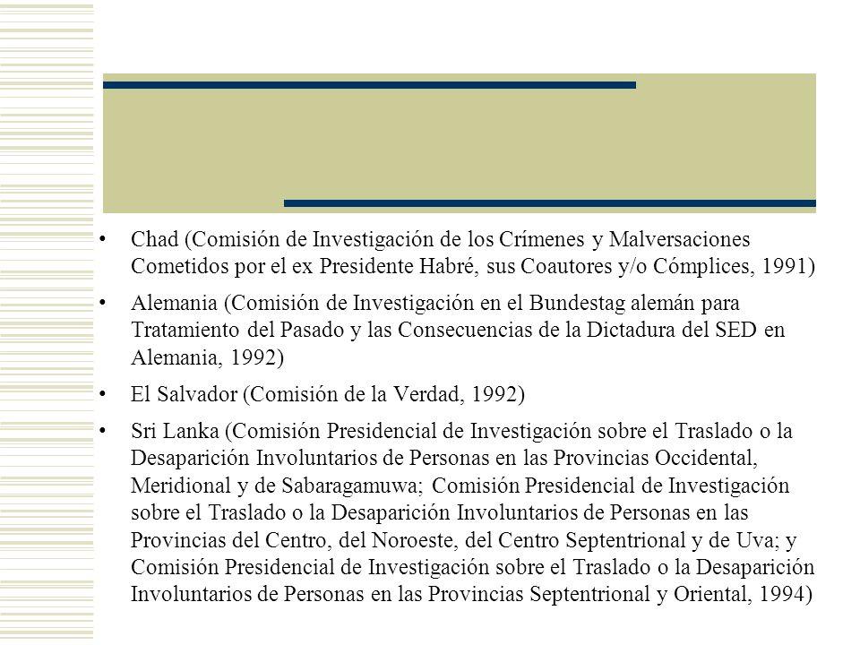 Chad (Comisión de Investigación de los Crímenes y Malversaciones Cometidos por el ex Presidente Habré, sus Coautores y/o Cómplices, 1991)