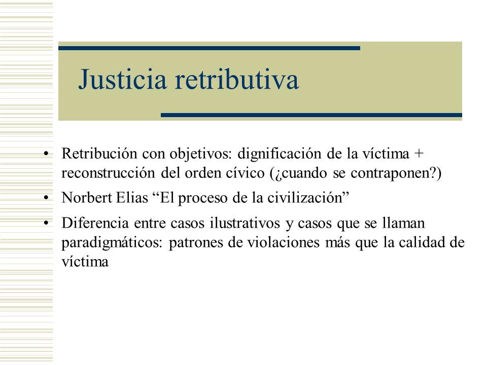 Justicia retributiva Retribución con objetivos: dignificación de la víctima + reconstrucción del orden cívico (¿cuando se contraponen )