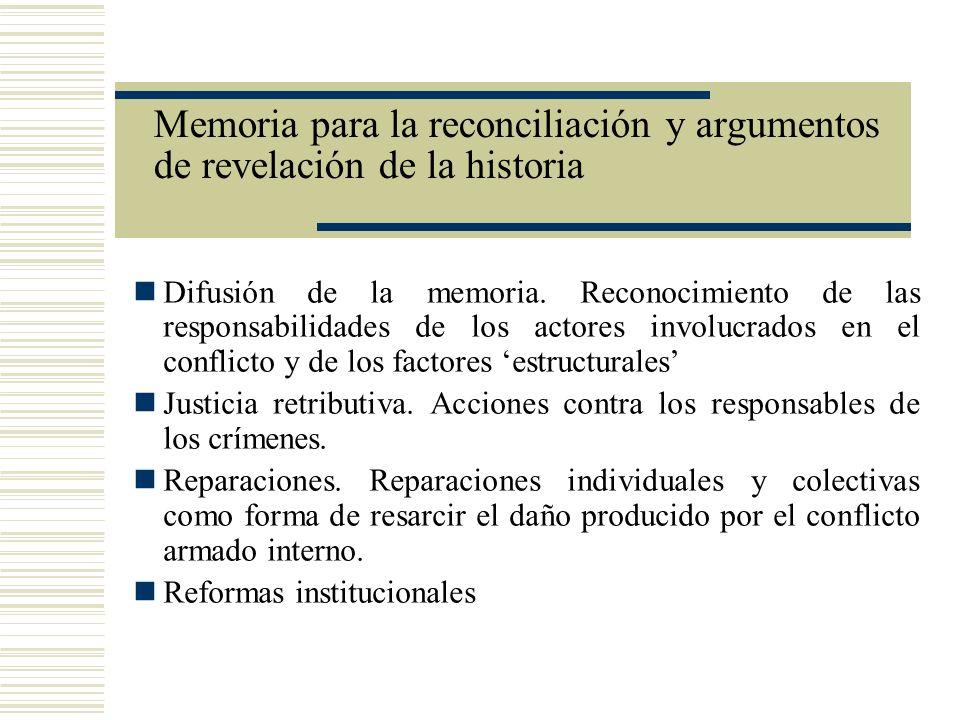 Memoria para la reconciliación y argumentos de revelación de la historia