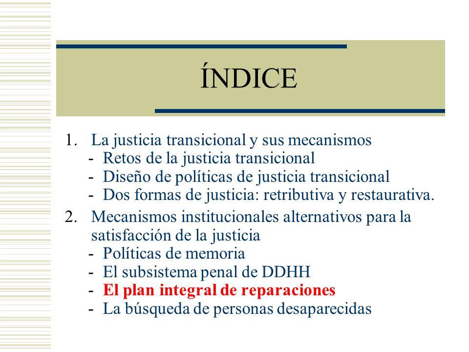 ÍNDICE La justicia transicional y sus mecanismos