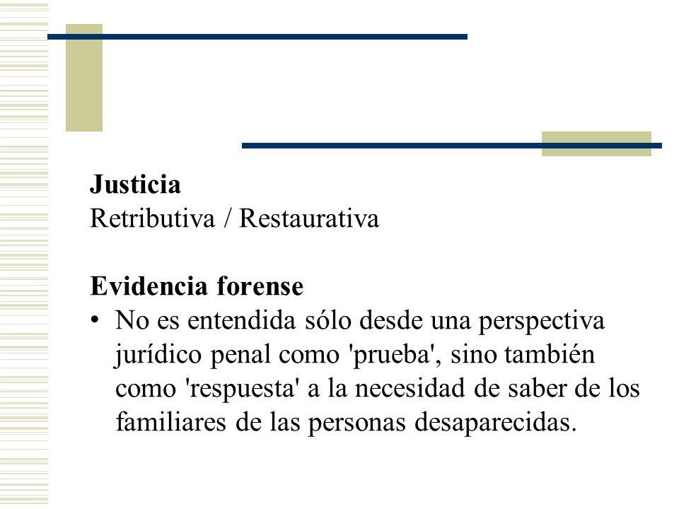 Justicia Retributiva / Restaurativa. Evidencia forense.