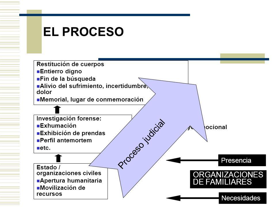 EL PROCESO Proceso judicial ORGANIZACIONES DE FAMILIARES Presencia