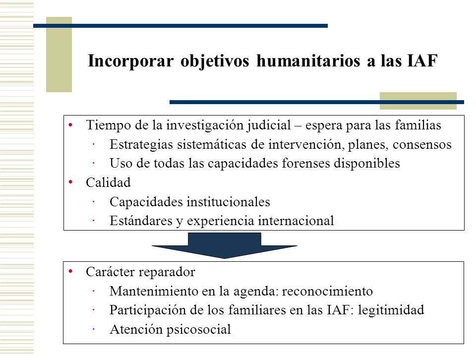 Incorporar objetivos humanitarios a las IAF