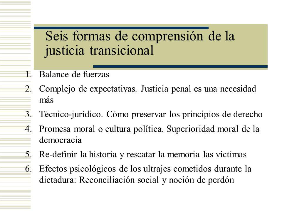 Seis formas de comprensión de la justicia transicional