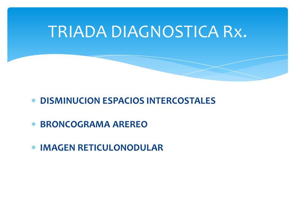 TRIADA DIAGNOSTICA Rx. DISMINUCION ESPACIOS INTERCOSTALES