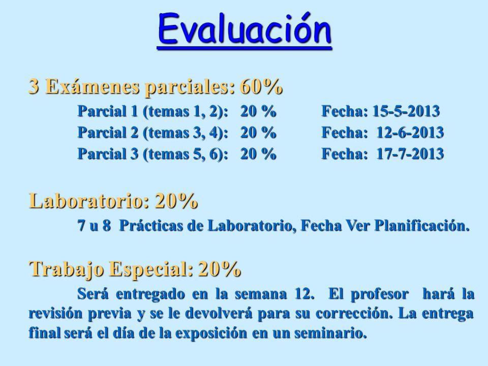 Evaluación 3 Exámenes parciales: 60% Laboratorio: 20%