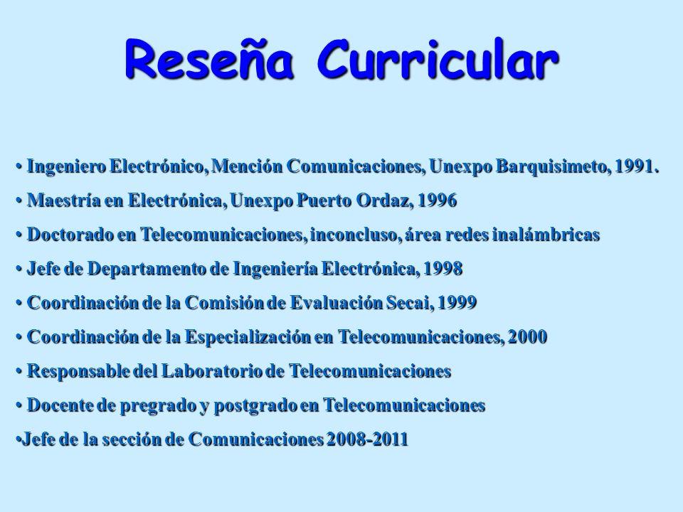 Reseña Curricular Ingeniero Electrónico, Mención Comunicaciones, Unexpo Barquisimeto, 1991. Maestría en Electrónica, Unexpo Puerto Ordaz, 1996.