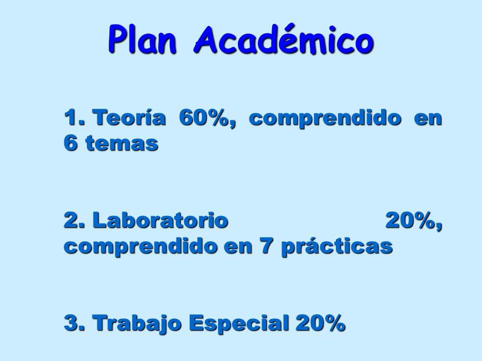 Plan Académico Teoría 60%, comprendido en 6 temas