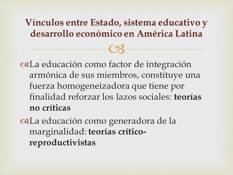 Vínculos entre Estado, sistema educativo y desarrollo económico en América Latina