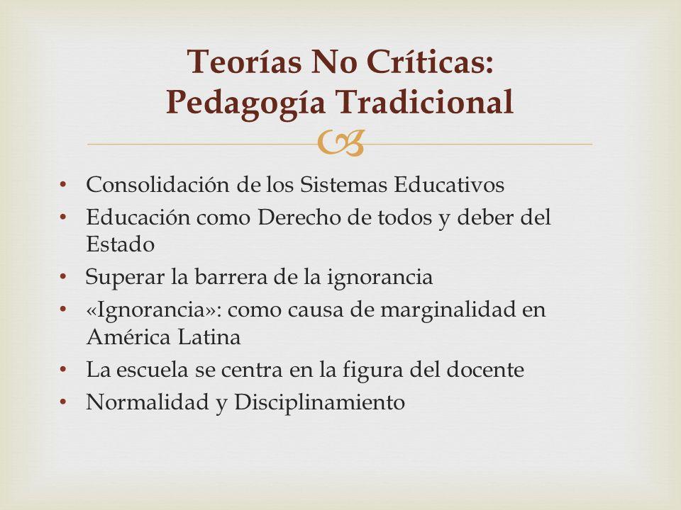 Teorías No Críticas: Pedagogía Tradicional