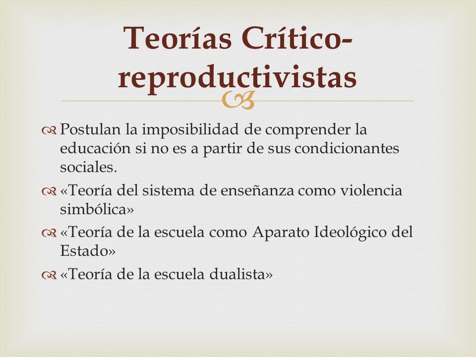 Teorías Crítico-reproductivistas