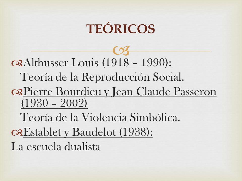 TEÓRICOS Althusser Louis (1918 – 1990):