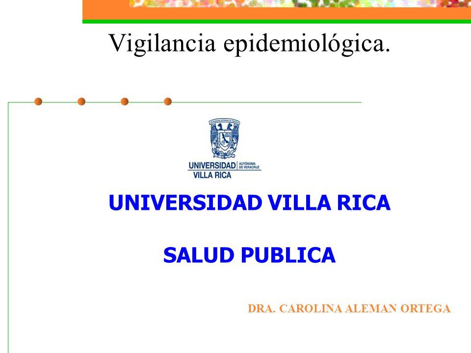 Vigilancia epidemiológica. UNIVERSIDAD VILLA RICA SALUD PUBLICA
