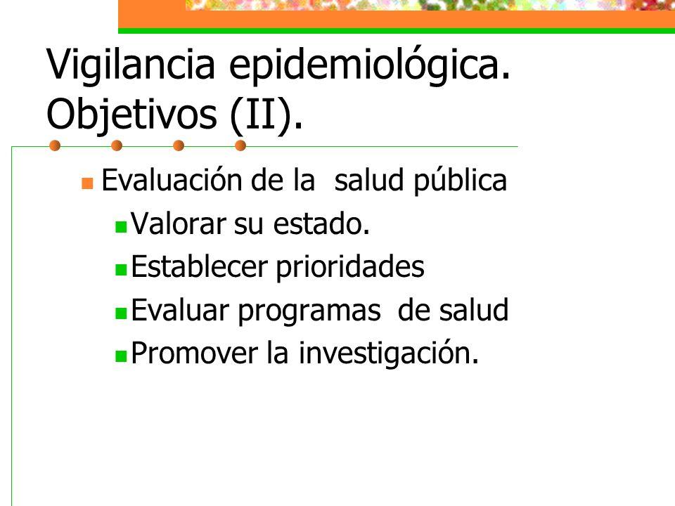 Vigilancia epidemiológica. Objetivos (II).